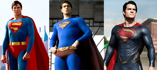 Superman-Evolution von Links nach rechts: Strumpfhosenmann, Badehosenmann, Man of Steel