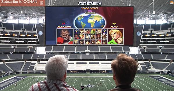 games auf stadion leinwand