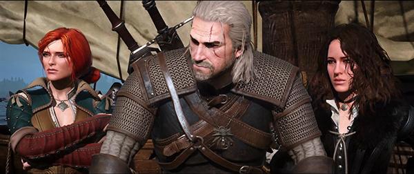 """Oh Gott, steht Geralt da eingerahmt von Triss Merigold und Yennefer von Vengerberg, seinen beiden """"Haupt-Gespielinnen""""? Ich werde von einem weiteren heftigen Nerdgasm geschüttelt…"""